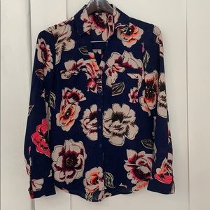 Express blue and vibrant floral blouse